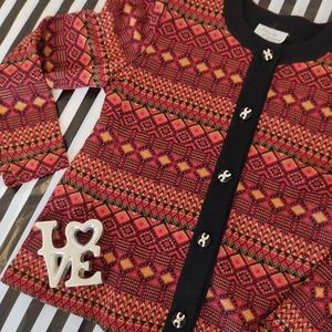 Vintage  (1970's/80's) red + gold Cardigan
